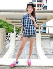 I am not always in fancy dresses. Here's a simply put together #ootd for my Sundate. Checkered shirt from #napapijrisg and a pair of sneakers. Look at the 2 pink blocks on my laces. They are from #zubits. With them, I don't have to tie my shoelaces anymore!! More information on blog soon. Check them out at @zubitssingapore in the meantime! #ootd #wiwt #ootdcampaign #sgig #maybelineootd