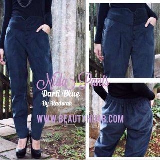 NIDA PANTS - Dark Blue - Corduroy Jeans